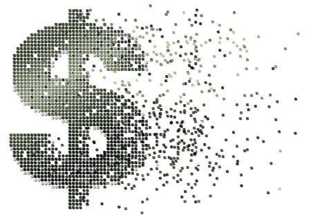 flujo de dinero: resumen ilustraci�n de flujo de caja con el signo de d�lar