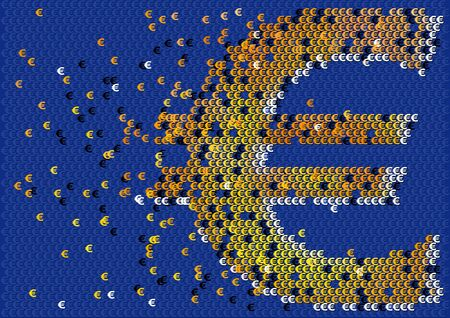 Ilustración abstracta de flujo de efectivo con el símbolo del euro
