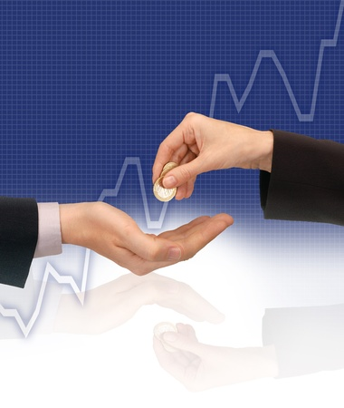 buying stock: coins being exchanged against a graph showing increasing share price