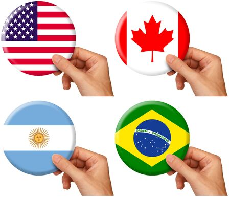 hand holding icons of flags of usa, canada, argentina and brazil. Includes clipping path
