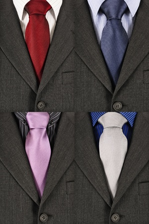 four business suits with different coloured shirts and ties