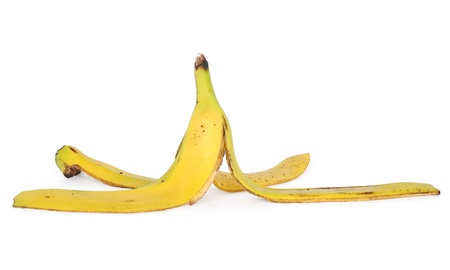 banana skin isolated on white with clipping path