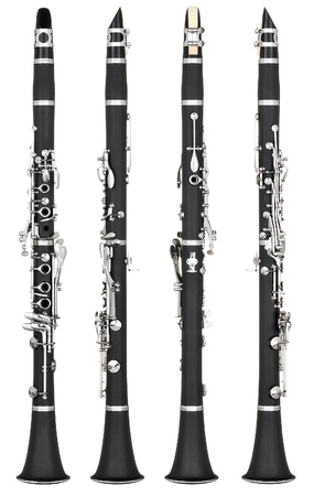 Four angles of a classical clarinet woodwind instrument