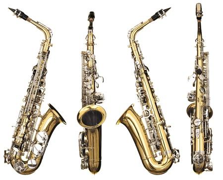 saxofon: Cuatro ángulos de un instrumento de viento clásico de saxofón alto