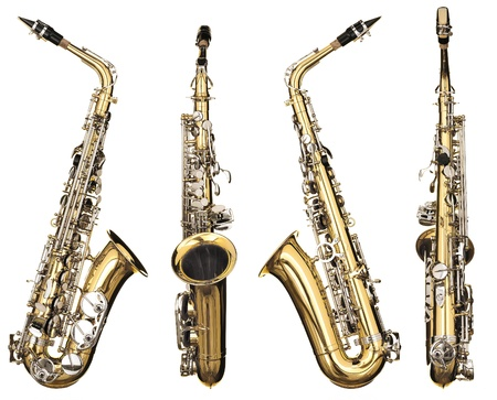 Four angles of a classical alto saxophone woodwind instrument Stock Photo