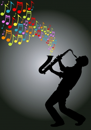 silhouette of musician playing a saxophone producing colored musical notes Stock Illustratie