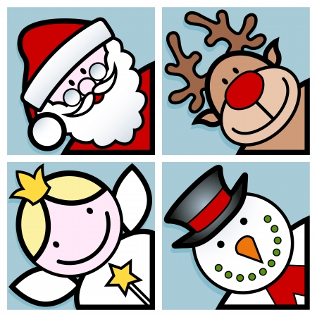 set of four happy christmas cartoon character faces