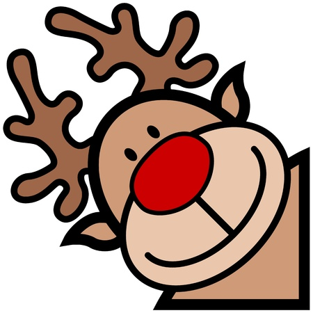 rudolph: cartoon of happy smiling rudolph reindeer character