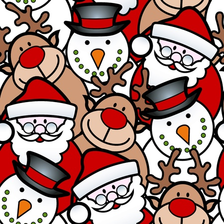 seamless background pattern of christmas santa, reindeer and snowman Stock Illustratie