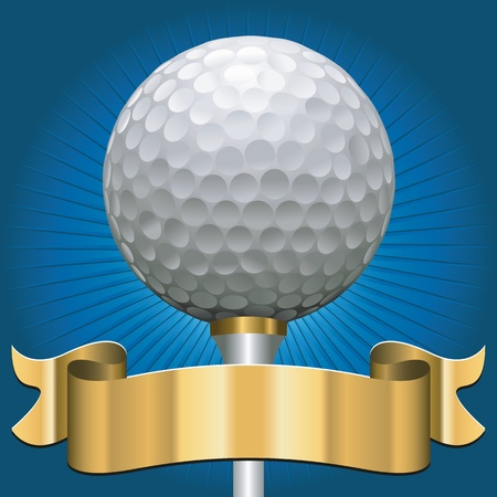 golf ball on tee: golf ball with award scroll banner in gold Illustration