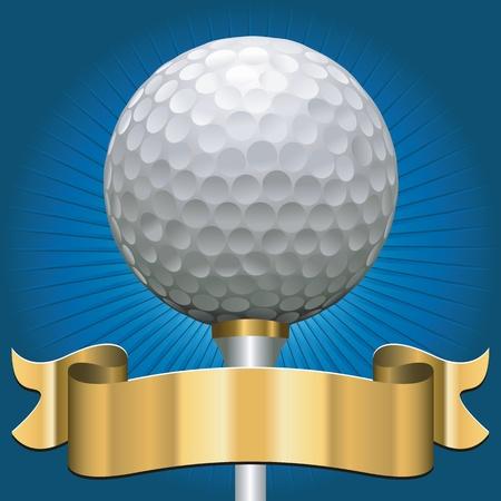 pelota de golf: pelota de golf con la bandera premio scroll en oro