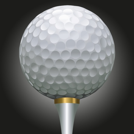 golf tee: close up illustration of golf ball on a gold tee against a black background