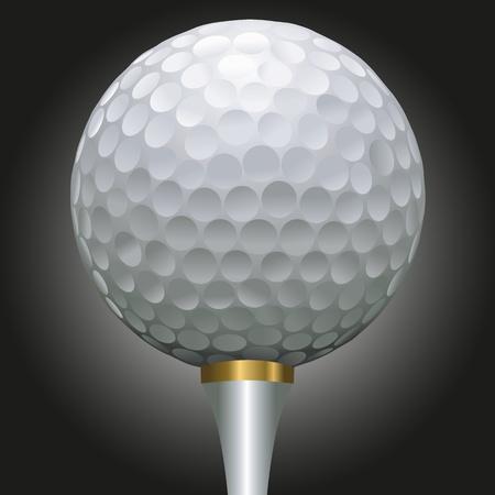 pelota de golf: close up ilustraci�n de la bola de golf en un tee de oro sobre un fondo negro