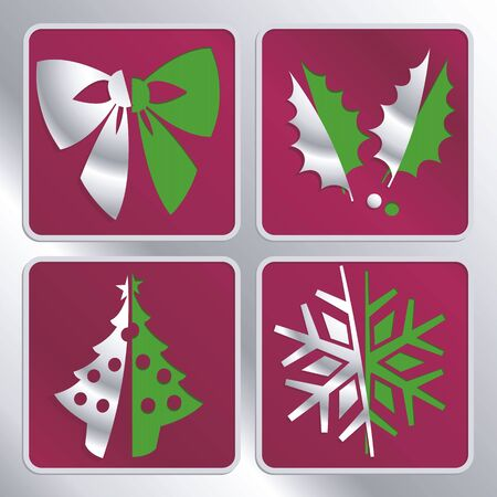 abstract christmas icons cut out from background Vector