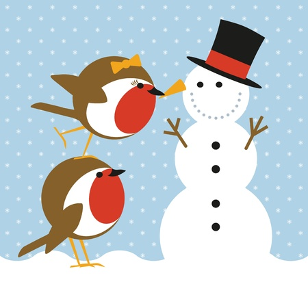 carrot nose: humorous christmas card with cute robins putting a nose on a snowman Illustration