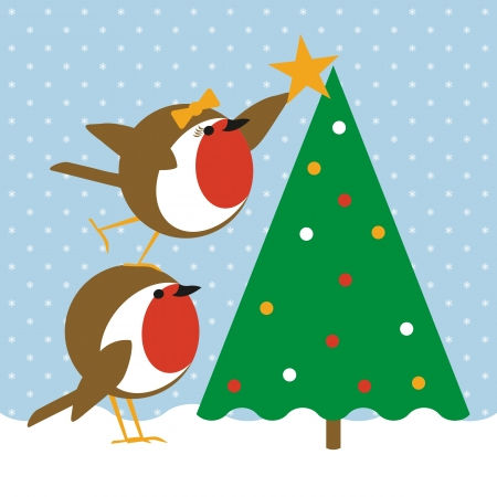 humorous christmas card with cute robins placing a star on a christmas tree