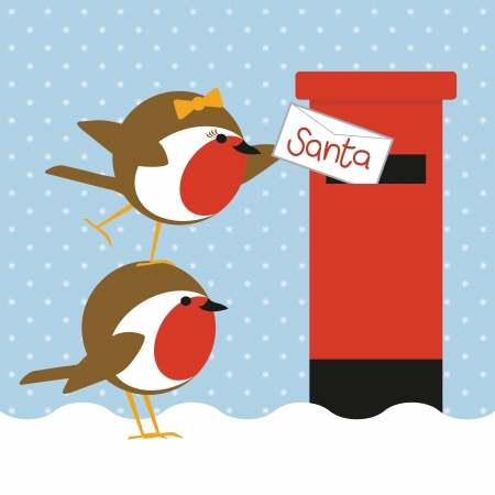 humorous christmas card with cute robins posting a letter to santa Vector