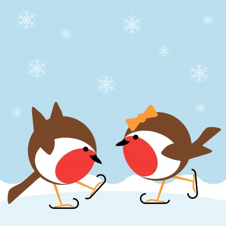 two cartoon robin redbreasts ice skating in winter Illustration