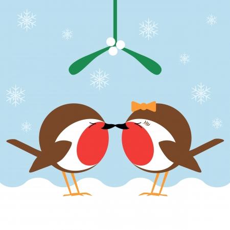 muerdago: dos dibujos animados redbreasts robin besarse bajo el muérdago