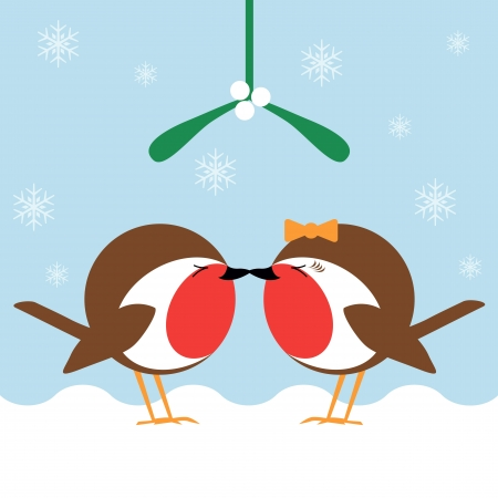 two cartoon robin redbreasts kissing under the mistletoe