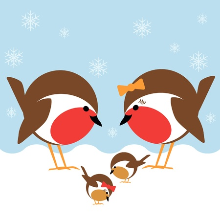 robin bird: a cute family of robin redbreasts in the snow