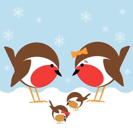 een leuke familie van Robin redbreasts in de sneeuw