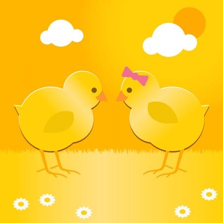 pollitos: un lindo par de pollos de primavera de la Pascua Vectores