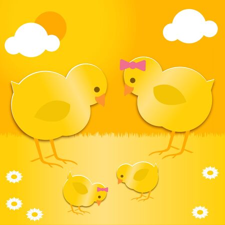 a pair of Easter chicks with their baby chicks Vector