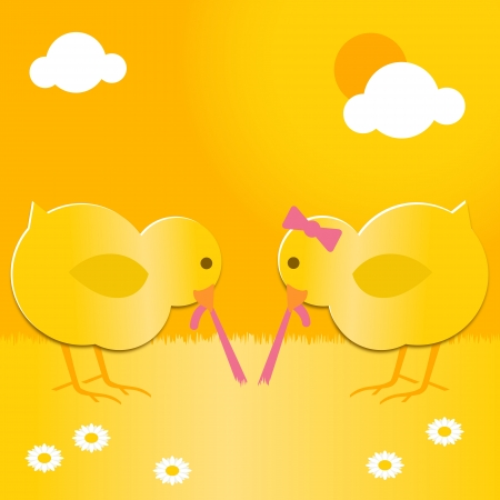 yellow daisy: two cute easter chicks pulling the same worm Illustration