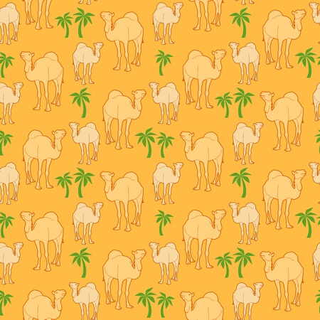 seamless repeat background of camels and palm tree   Illustration