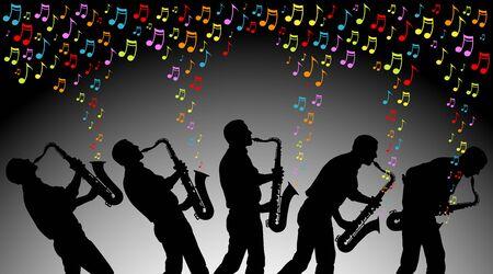 note musicali: angoli multipli di uomo che suona le note musicali colorate su un sassofono EPS � AI10 con miscele in background Vettoriali