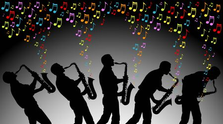 multiple angles of man playing colored musical notes on a saxophone  EPS is AI10 with blends in the background Stock fotó - 18564724