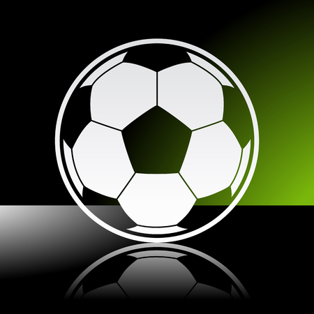 Graphic icon of football soccer ball with reflection   Illustration