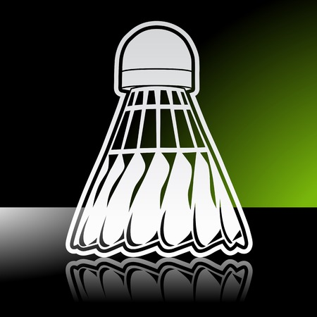 shuttlecock: Graphic icon of badminton shuttlecock birdie with reflection.