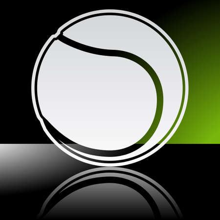 Graphic icon of tennis ball with reflection
