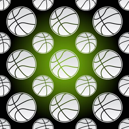 Seamless background illustration of repeating basketball balls