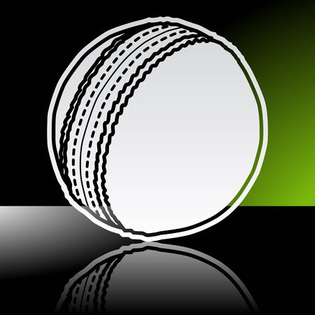 cricket ball: Graphic icon of cricket ball with reflection Illustration