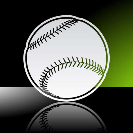 Graphic icon of baseball ball with reflection