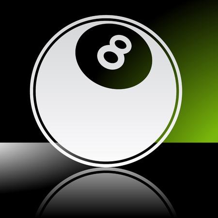bola de billar: Icono gr�fico de la bola de piscina con la reflexi�n