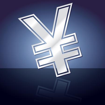 yen sign: Icono gr�fico del s�mbolo de yenes con la reflexi�n.