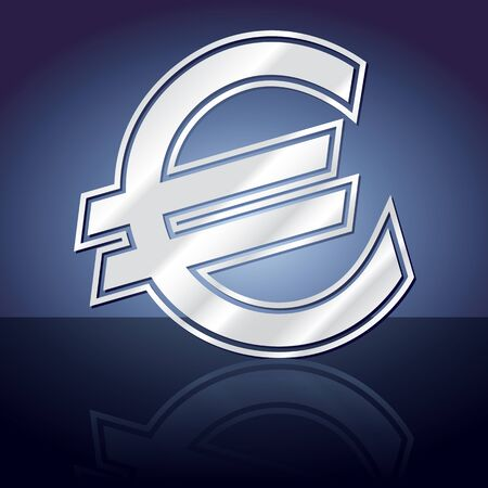 Graphic icon of euro symbol with reflection Illustration
