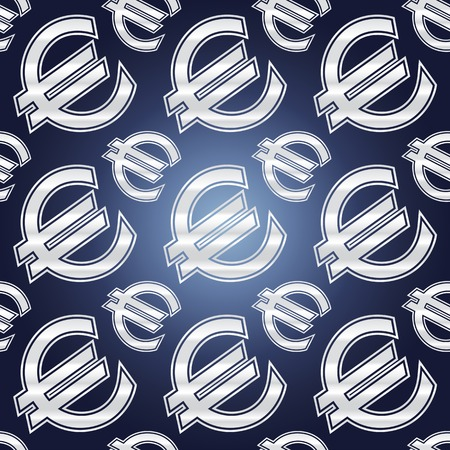 Seamless background illustration of repeating euro currency signs. Illustration
