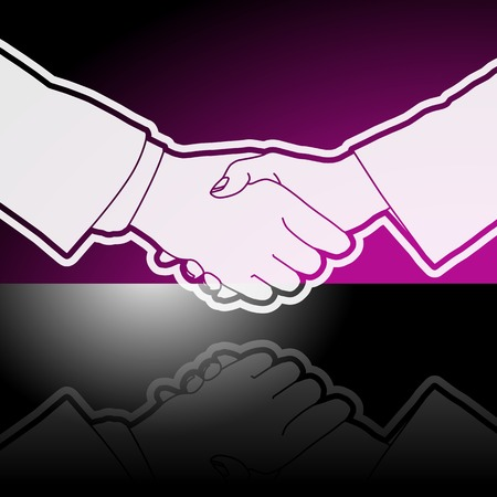 coalition: Graphic icon of business executives shaking hands with reflection.