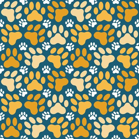 cat paw: Seamless background illustration of cat paw prints