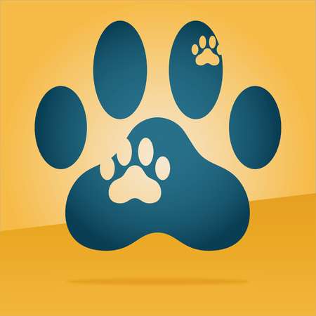 footmark: paw print of a cat floating in the air Illustration