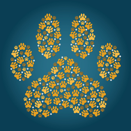 large paw print made up of smaller paw prints