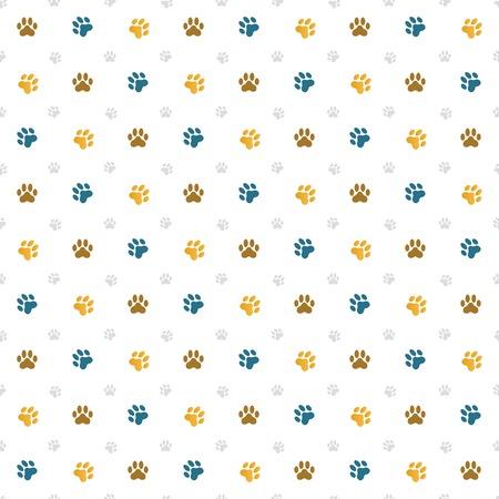 Seamless wallpaper illustration of cat paw prints