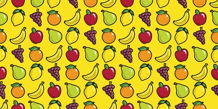 Repeating seamless pattern of fruit in bright colors. Stock Illustratie