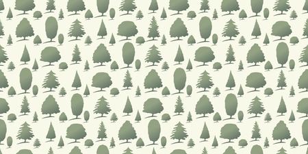 Repeating seamless pattern of green forest trees.