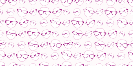 seamless background repeat pattern of female heads wearing glasses Illusztráció